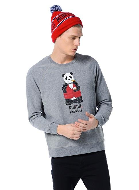 T.easeWear Project Baskılı Uzun Kollu Sweatshirt Gri